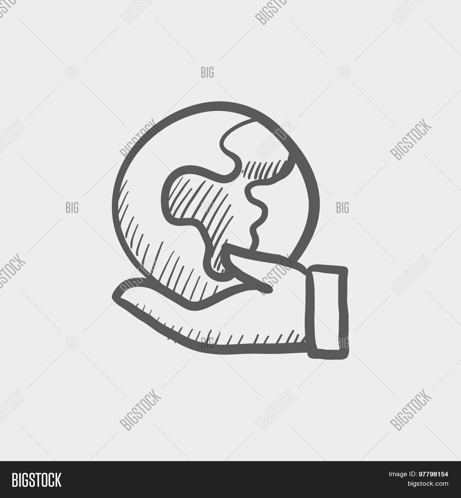 1500x1620 Hand Holding Earth Sketch Icon Web Vector Amp Photo Bigstock
