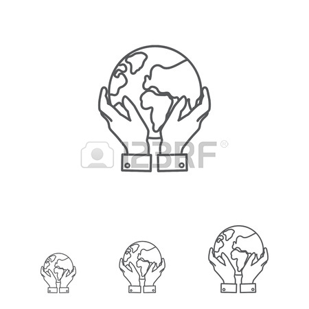 450x450 Icon Of Man Hands Holding Earth Globe Royalty Free Cliparts