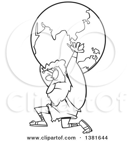 450x470 Clipart Of A Cartoon Black And White Greek God, Atlas, Carrying