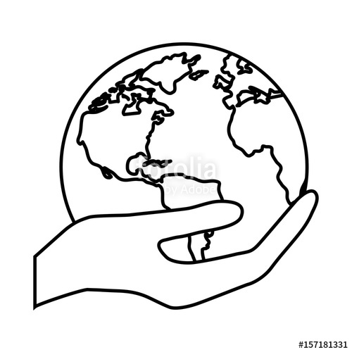 500x500 Hand Holding A Planet Earth Icon Over White Background. Vector
