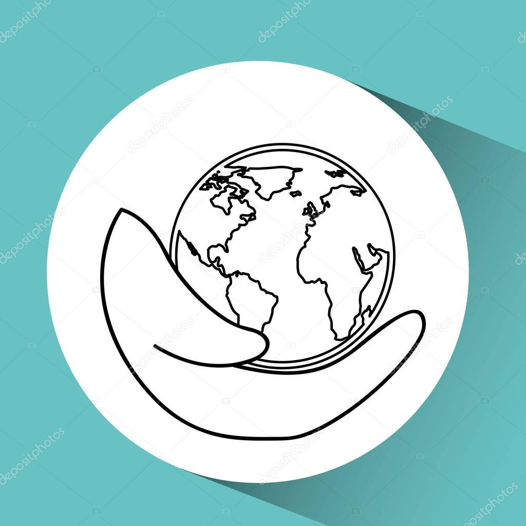 1024x1024 Hand Holding Globe World Care Icon Graphic Stock Vector