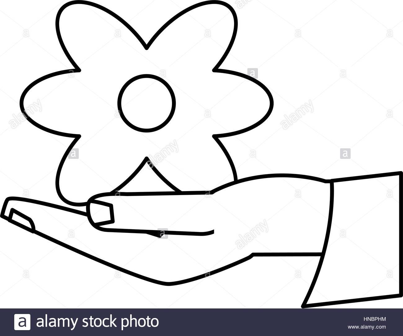 1300x1085 Women Day Hand Holding Flower Thin Line Vector Illustration Eps 10