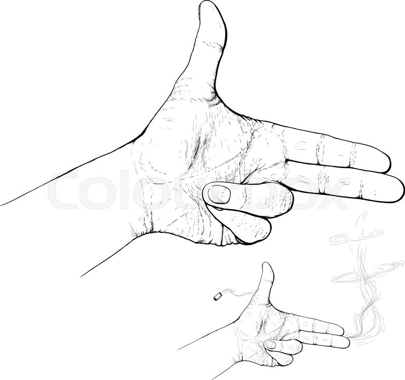 800x750 Hand With Two Fingers Like Gun Posed Simulates Shot Stock Vector
