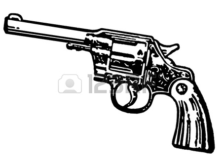 450x338 A Black And White Version Of A Vintage Hand Gun Stock Photo