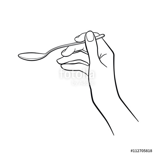 500x500 Woman Hand Holding Spoon. Kitchen Tools. Outline Cooking Gesture