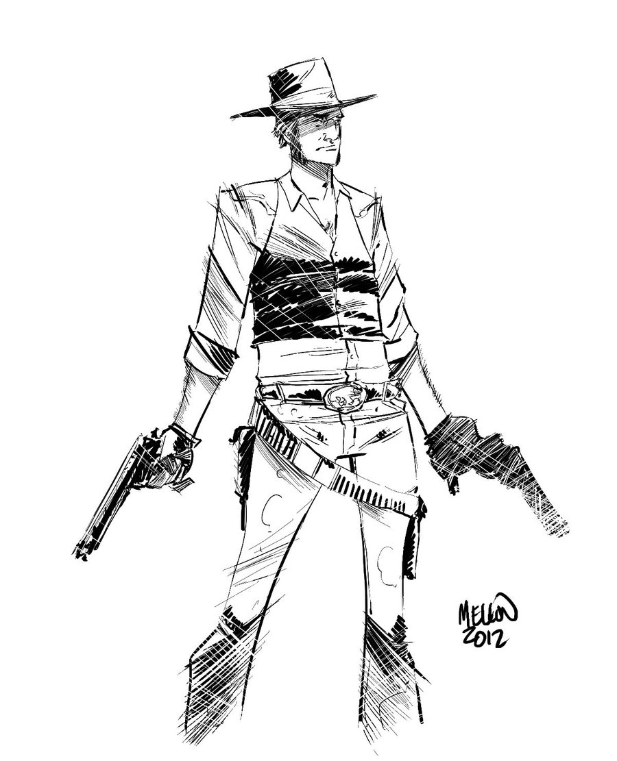 It is a picture of Nifty Man Holding Gun Drawing