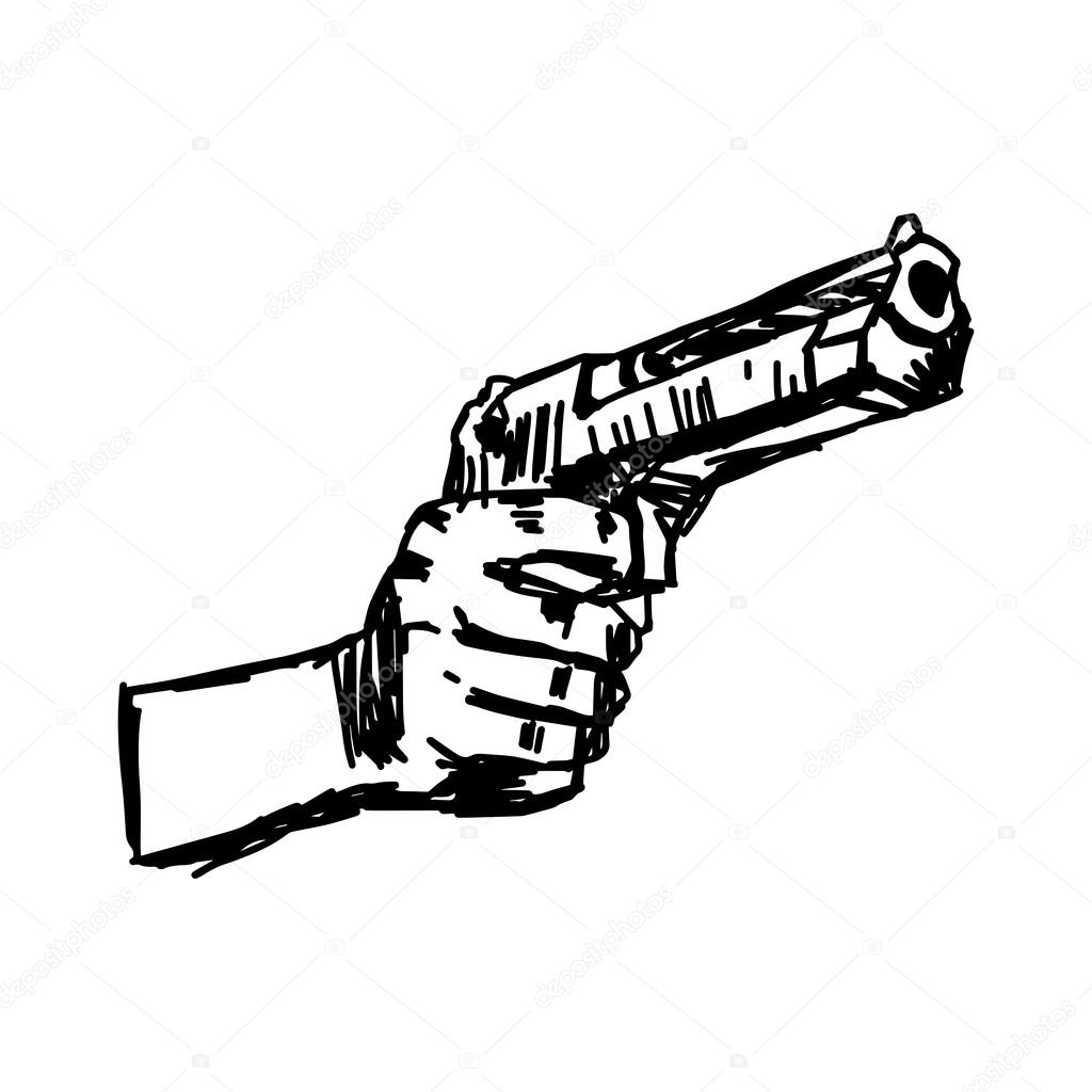 1024x1024 Illustration Vector Doodle Hand Drawn Of Hand Holding Gun Stock
