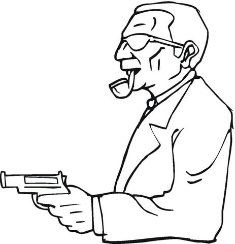 463x480 A Man With A Gun Coloring Page Free Printable Coloring Pages