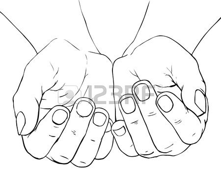 450x386 Hand Drawn Illustration Of Cupped Female Hands Royalty Free
