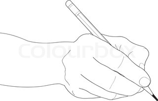 320x205 Hand Drawing Hand Holding Pencil Stock Vector Colourbox