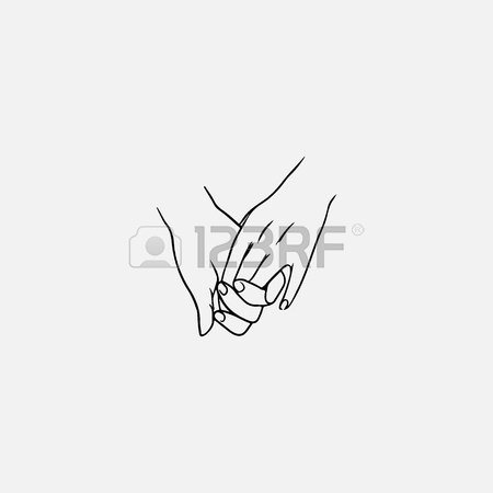450x450 Holding Hands Drawn By Contour Lines Isolated On White Background