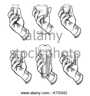 300x320 A Man Hand Holding A Drawn Glass Of Water Stock Photo, Royalty