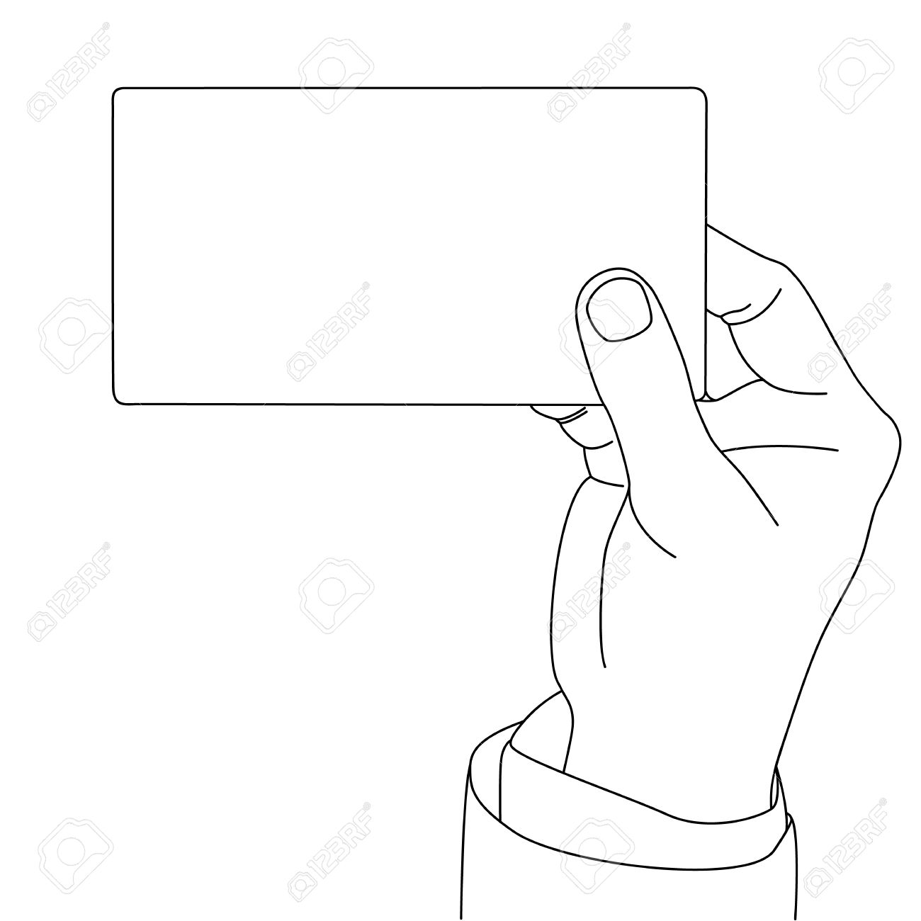 1300x1300 Drawing Outline Of Hand Holding Blank Card, Vector Format Royalty