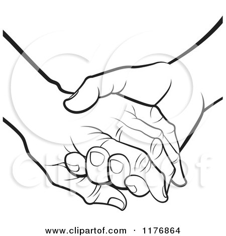 450x470 Clipart Of A Young Hand Holding A Senior Hand On A Green Heart