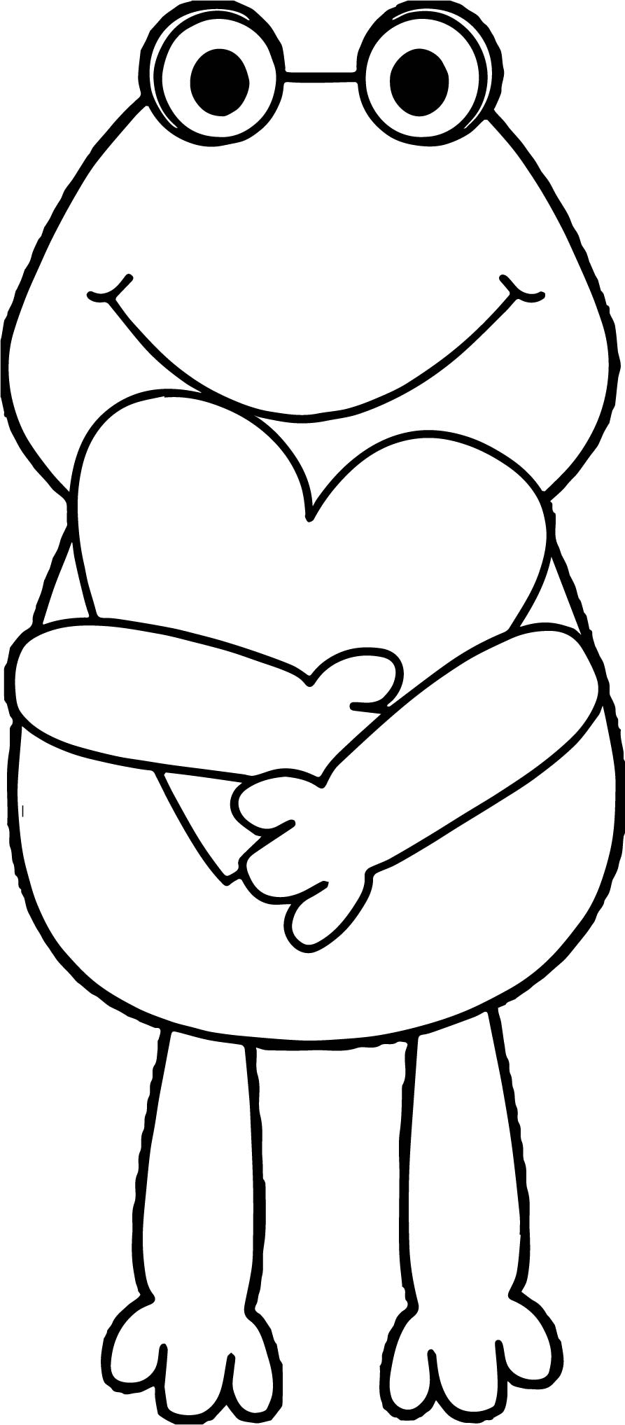893x2035 Frog Holding Heart Coloring Page Wecoloringpage