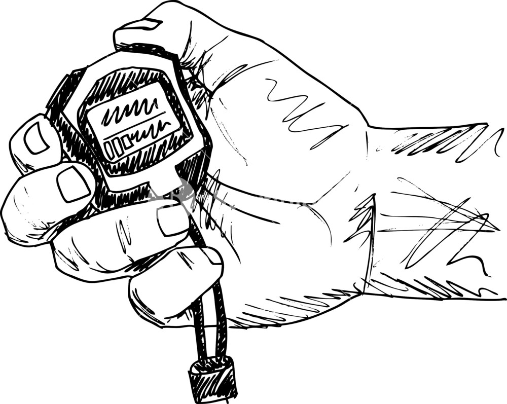 1000x797 Sketch Of Male Hand Holding A Stopwatch. Vector Illustration