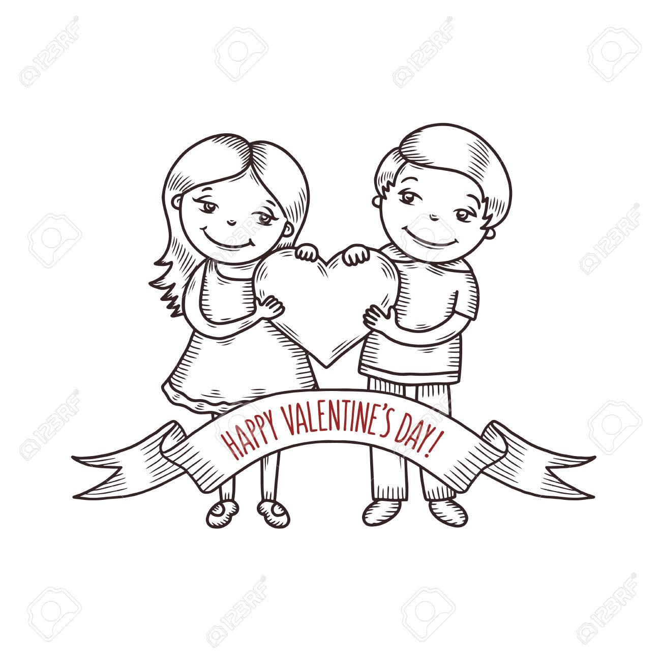 1300x1300 Boy Heart With Girl Line Drawing Boy And Girl Holding Heart