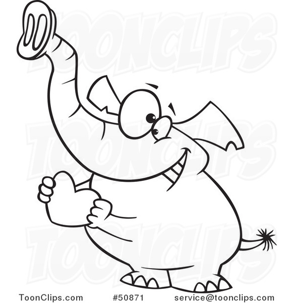 581x600 Cartoon Outlined Sweet Elephant Holding A Red Valentine Heart
