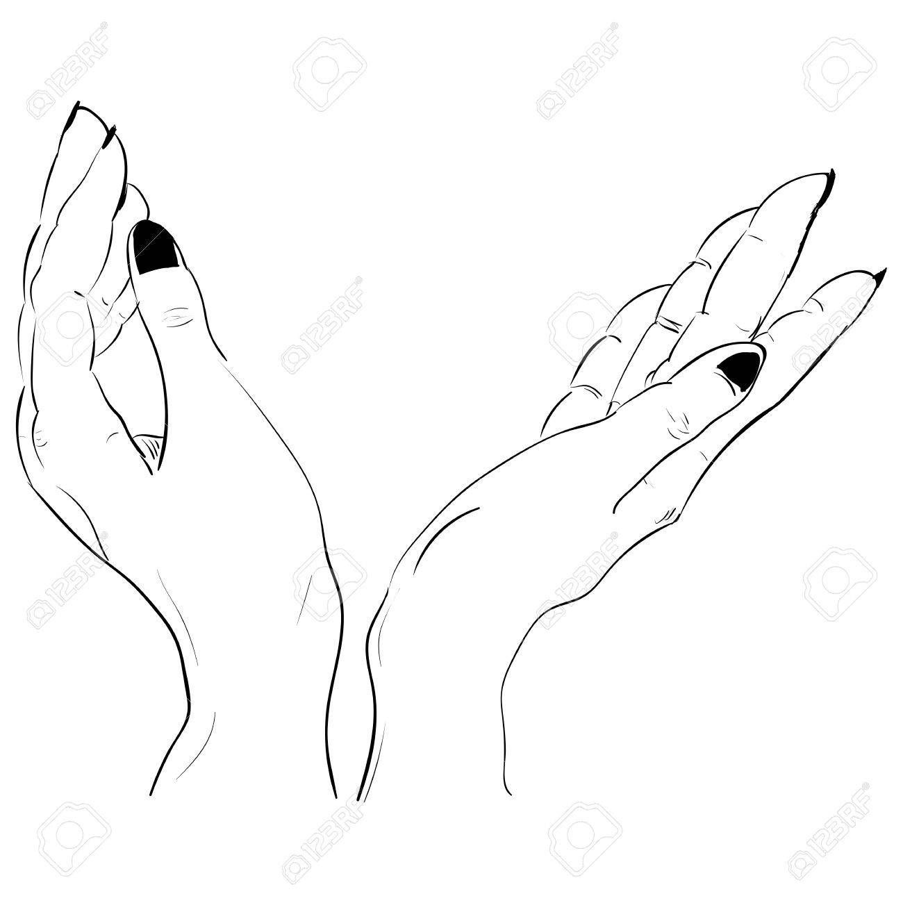 1300x1300 Ink Sketch Two Hands Holding Something Royalty Free Cliparts