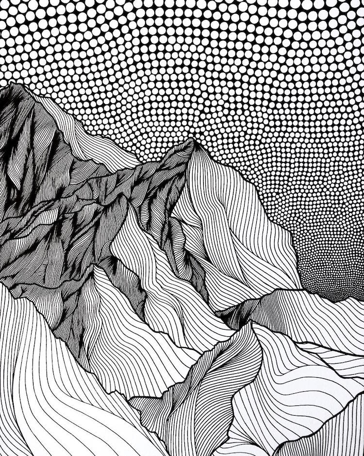 750x938 Christa Rijneveld Creates Pen And Ink Line Drawings Of Mountains