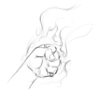 320x314 Travis Can Draw Fist Of Fire And Perspective Man