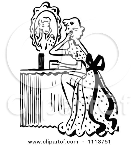 450x470 Clipart Retro Black And White Woman Looking At A Mirror At Her