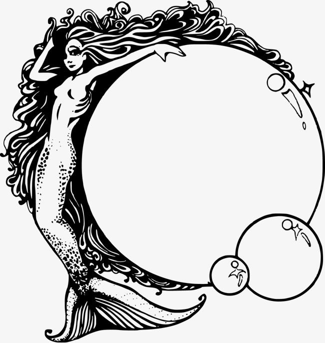 650x686 Vector Painted Mermaid, Hand Painted Mermaid, Mirror, Vector Free