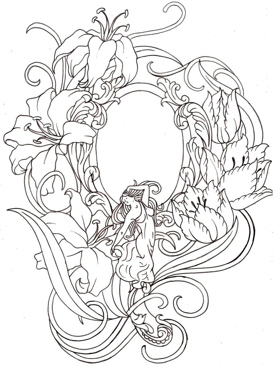 900x1199 Art Nouveau Hand Mirror Tattoo By ~metacharis