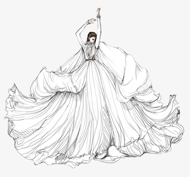 650x606 Hand Painted Wedding Dress Model Illustration, Hand Painted Dress