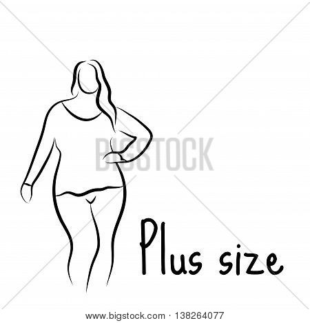 450x469 Plus Size Model Woman Sketch. Hand Vector Amp Photo Bigstock
