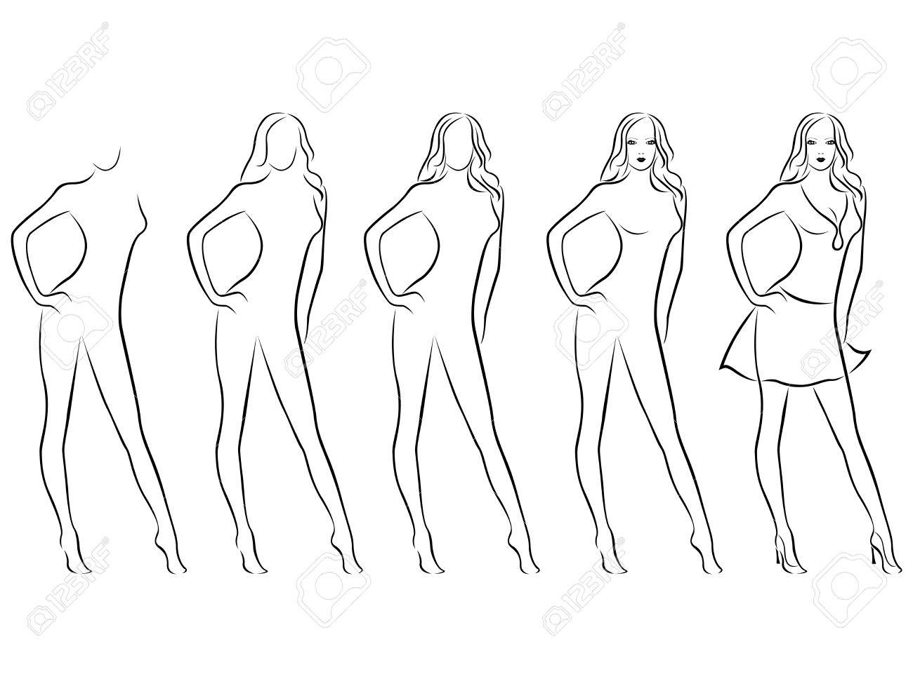 1300x975 Sequence Of Hand Drawing Creation A Beautiful Female Vector