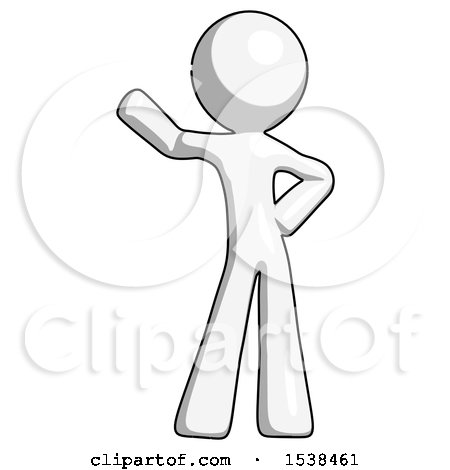 450x470 White Design Mascot Man Waving Right Arm With Hand On Hip By Leo