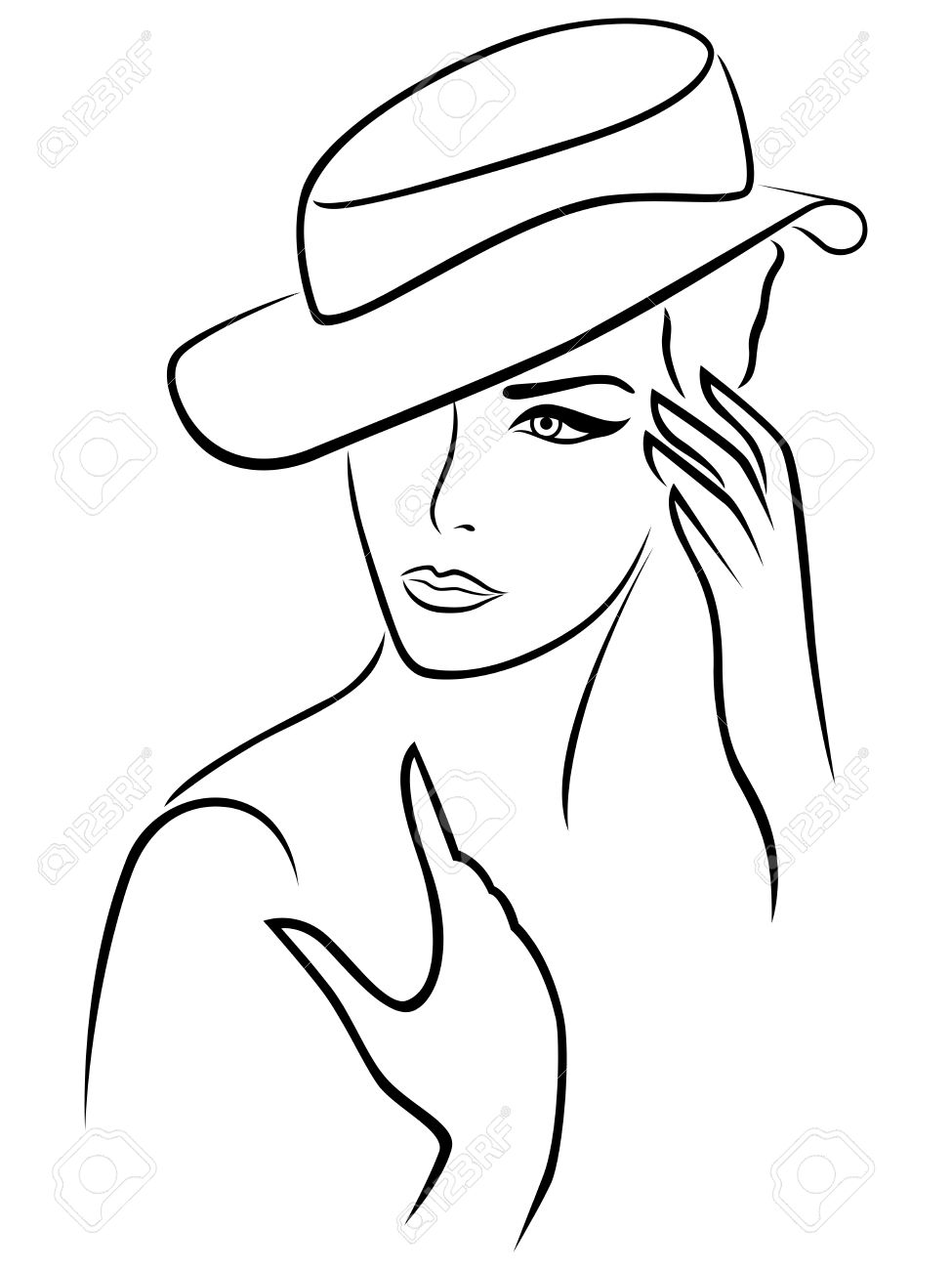 975x1300 Elegant Young Woman In A Hat, Hand Drawing Black Vector Outline