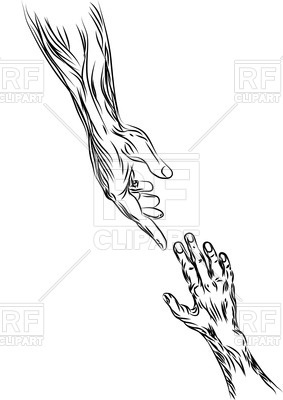 283x400 Helping Hand Outlines Royalty Free Vector Clip Art Image