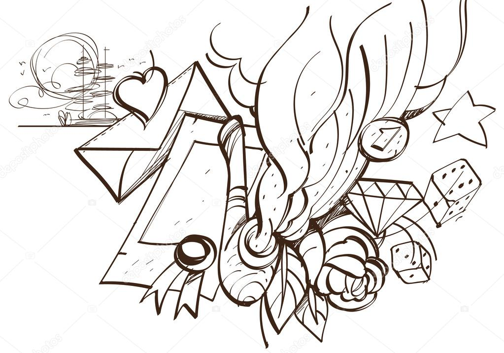 1023x716 Pipe, A Letter With An Envelope, Rose. Romantic Sketch, Hand