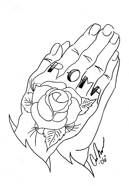452x649 Prayer Hands Outline