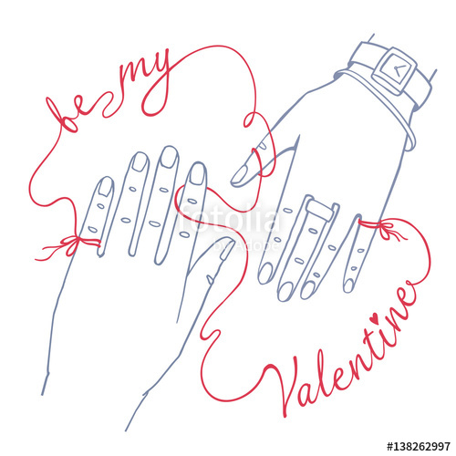 500x500 Valentine's Day Greeting Card. Simple Outline Drawing Of Two Hands