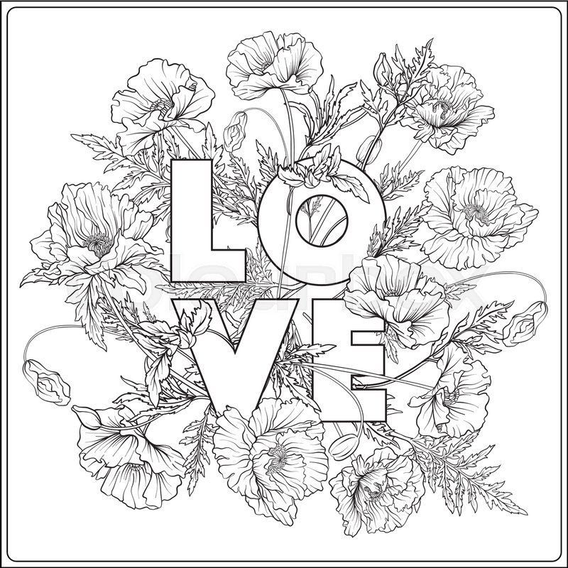 800x800 Card With Poppies Outline Hand Drawing Coloring Page For Adult