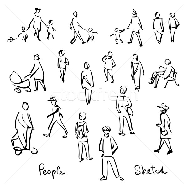 600x600 Casual People Sketch. Outline Hand Drawing Vector Illustration