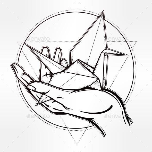 590x590 Hand Drawn Paper Crane In A Palm By Itskatjas Graphicriver