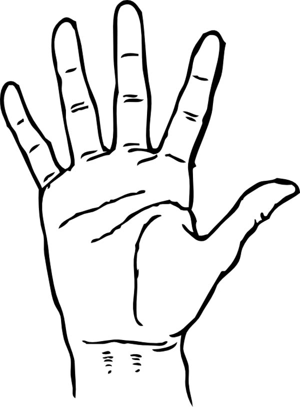 600x815 Hand Palm Facing Coloring Page Coloring Sky Hand Shape Coloring