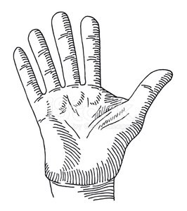 266x299 Hand Palm Stop Gesture Drawing Stock Vectors