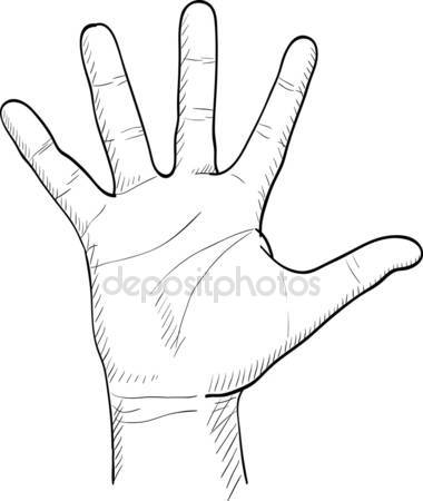 380x450 Hand Drawn Men's Palm Stock Vector Dimgroshev