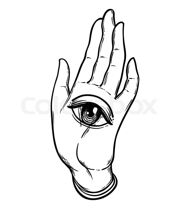 690x800 Open Hand With The All Seeing Eye On The Palm. Occult Design