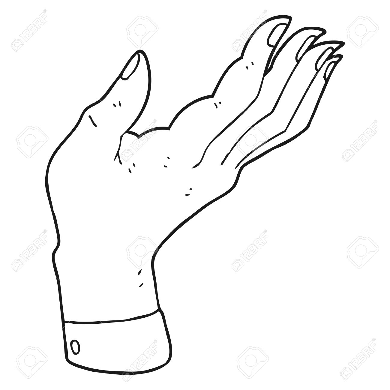 1300x1300 Freehand Drawn Black And White Cartoon Open Hand Raised Palm