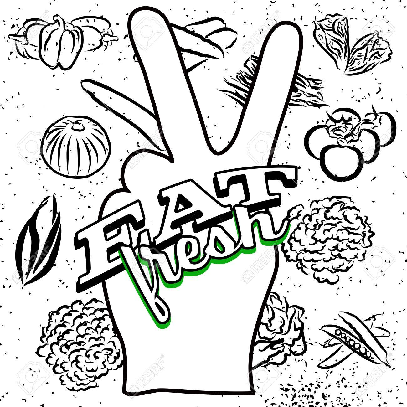 1300x1300 Eat Fresh Lettering On Peace Hand Sign, Hand Drawn Outline Artwork
