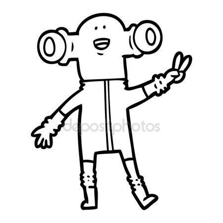450x450 Friendly Cartoon Alien Giving Peace Sign Stock Vector