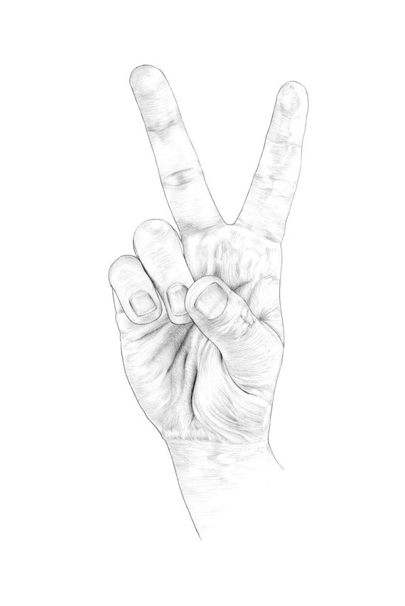 570x853 Set Of 10 Hand Peace Sign Postcards