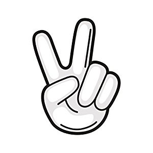 300x300 Black And White Peace Sign Emoji Icon Vinyl Decal