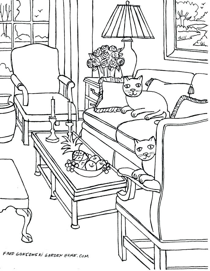 687x889 Living Room Drawings One Point Perspective Interior Drawing Hand